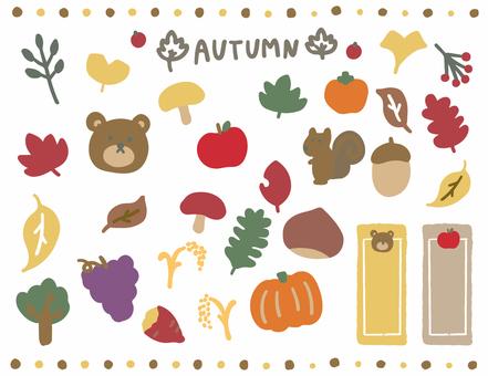 Autumn handwritten illustration set