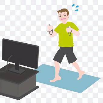 在視頻遊戲中鍛煉的男人