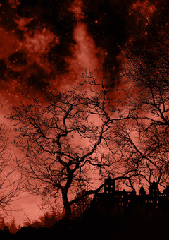 夜晚森林中的城堡紅色