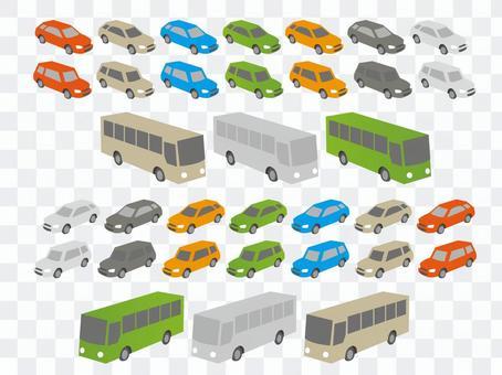 汽车和公共汽车(顶视图)