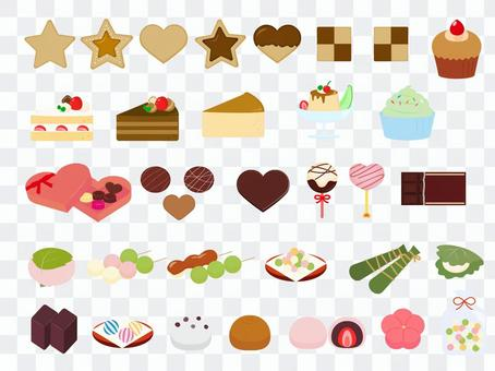 Pastry and Japanese sweets illustration