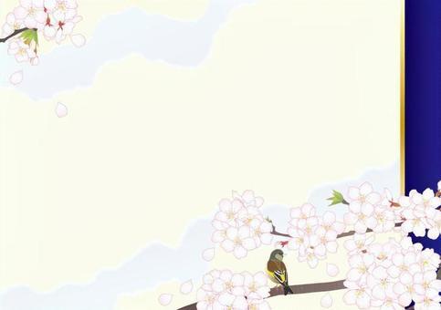 日本風格框架_櫻花小鳥嗨_藍色