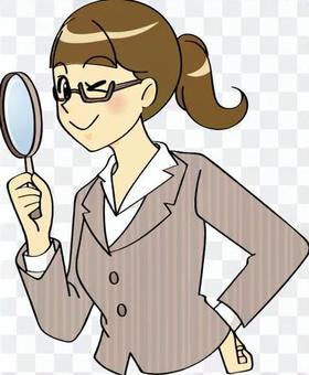 Suit women with magnifying glass