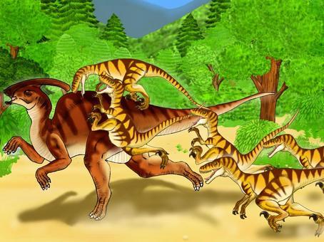 草食性恐龍受食肉恐龍襲擊
