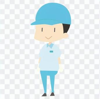 引っ越し-引っ越し作業員(青、半袖)