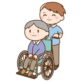 看護人推著祖母乘坐的輪椅