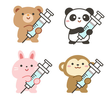 Animal set with vaccination syringe