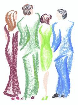男女4人後ろ姿 手描イラスト