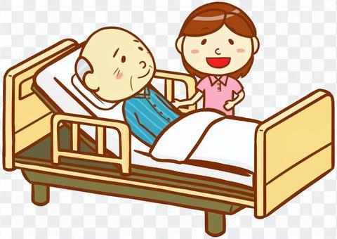 老年男性和護理人員和護理床
