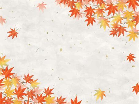 秋葉/水彩風格框架06/楓日式