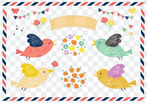 鸟类和花卉材料