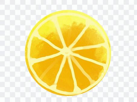 檸檬切成薄片的水彩風格