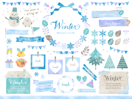 Winter event and natural watercolor frameset