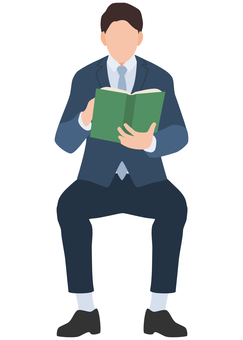 Businessman reading sitting reading