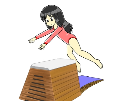 Girl jumping in the vaulting box Part 5