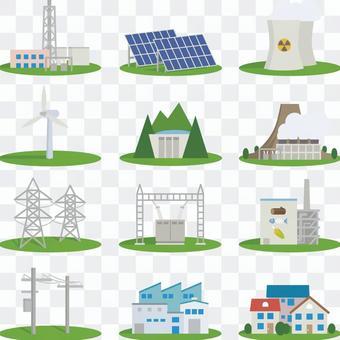 為電廠,電力基礎設施等設置的圖標。
