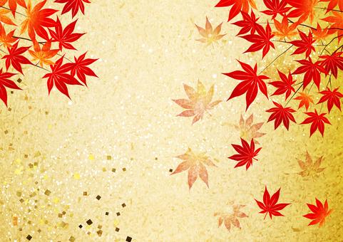 金葉背景上水平的秋葉