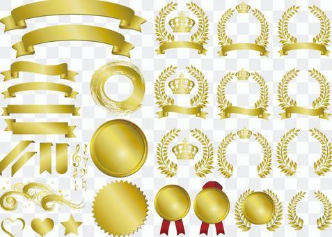 框架黃金會徽飾品冠月桂樹色帶