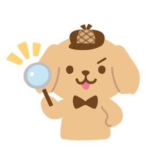 犬の探偵キャラクター(虫眼鏡)