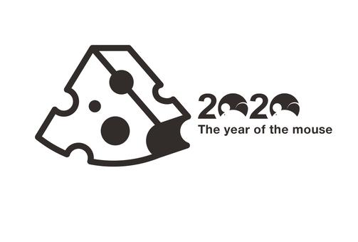 2020 New Year Card Cheese mouse half circle black