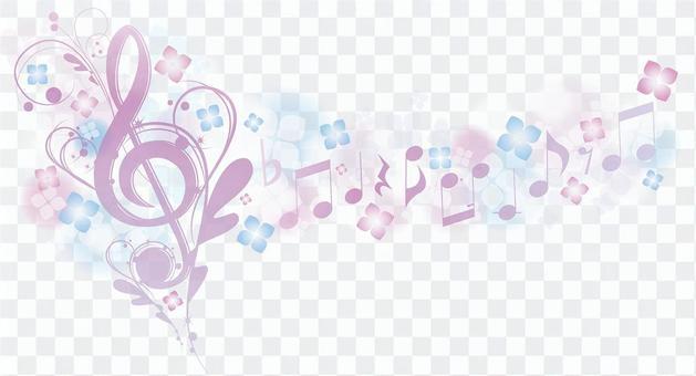 在繡球花雨季期間優雅的聲音標誌和筆記
