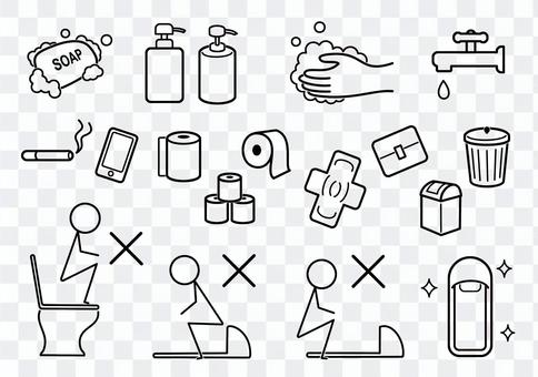 Easy-to-understand illustrations related to restrooms