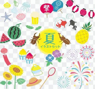 Summer pop illustration set