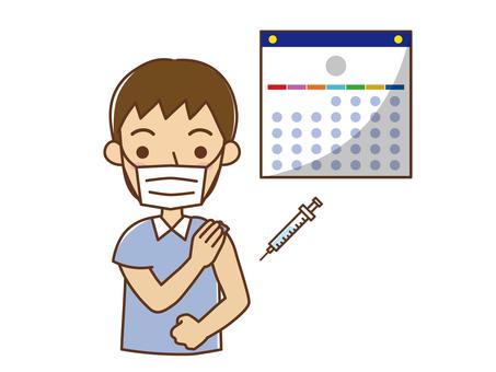 檢查日曆和疫苗接種的人