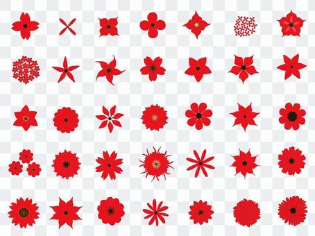赤い花のセット_花芯黒