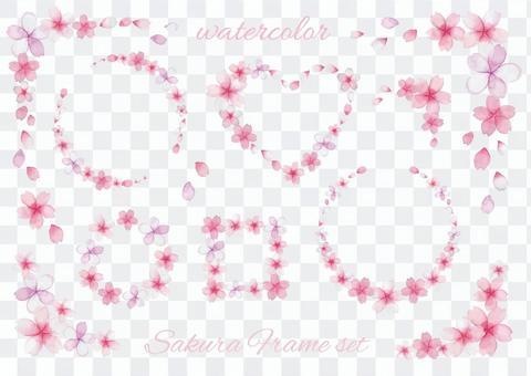 Watercolor cherry blossom frameset