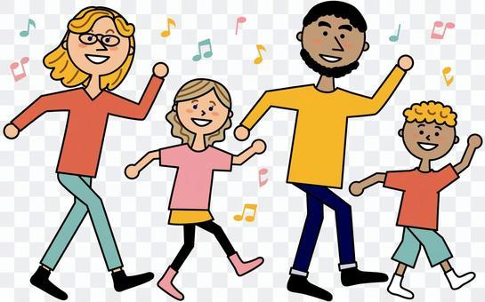 ダンスする外国人親子4人