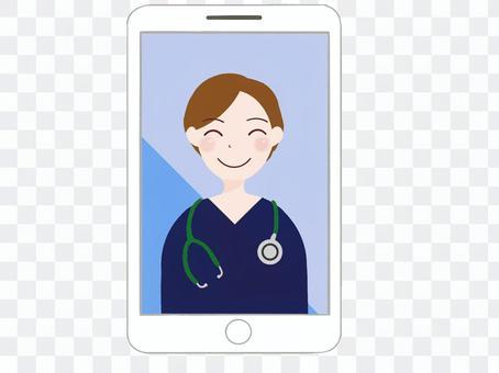 オンライン診療をする医師