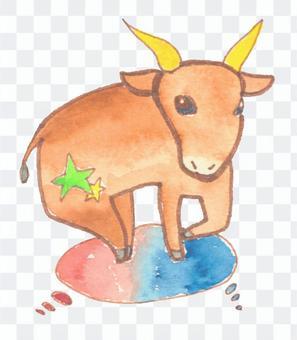 Taurus painted in watercolor
