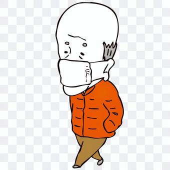 マスクをつけて歩くジジイ