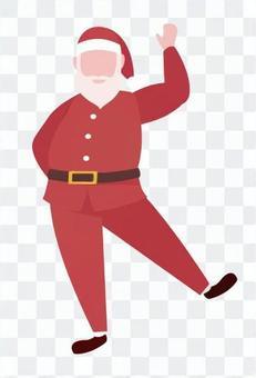 聖誕老人跳舞時舉起他的手