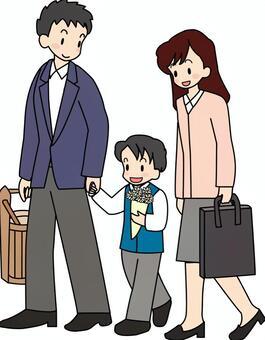 和父母和孩子一起去墳墓