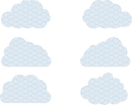 青海波浪紋雲藍白套裝