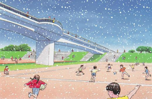 陸橋公園に雪が降ってきた