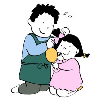 父親努力為女兒整理頭髮