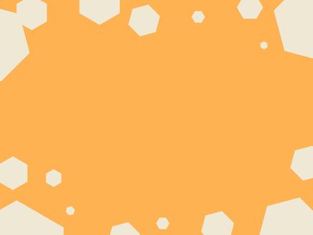 図形フレーム 六角形 オレンジ