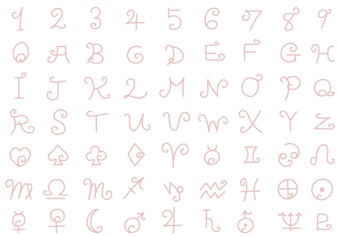 Hand-painted round and round number symbol line drawing illustration set