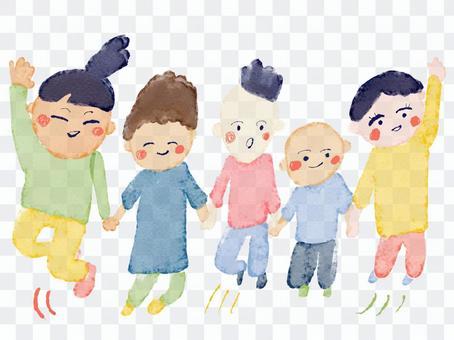 跳躍的兒童水彩色彩豐富的插畫