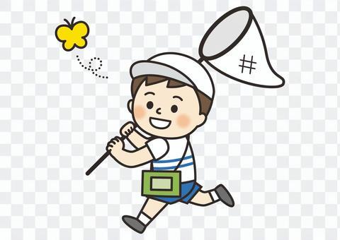 男孩捉昆蟲