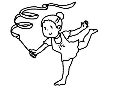 【黑白】藝術體操選手【畫線】
