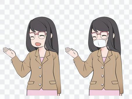 説明する、案内する、紹介する眼鏡の女性