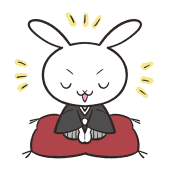 Rabbit greeting with a hakama