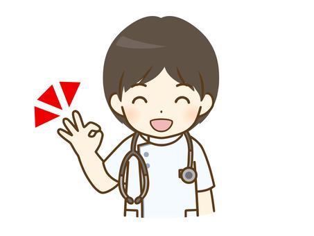 給一個好的標誌的年輕男性護士