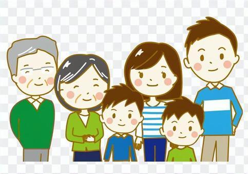 家族6人上半身