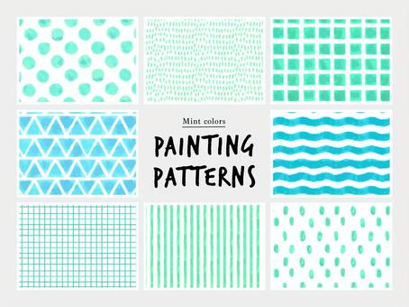 Mint color hand drawn pattern
