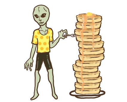 撿起熱騰騰的蛋糕吃的外星人